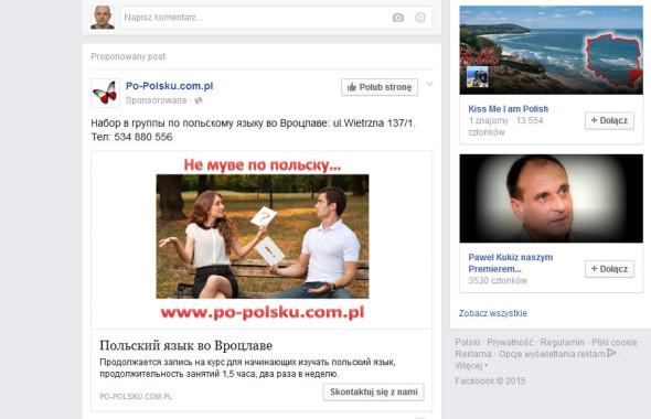 Po tym obrazku ze strumienia FB widać ile są warte reklamy personalizowane.